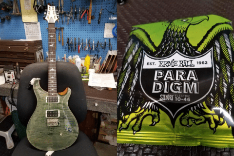 Paul Reed Smith guitar and Ernie Ball strings.
